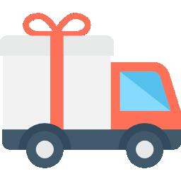 Ícone de um caminhão carregando um presente, ilustrando uma carga preciosa.