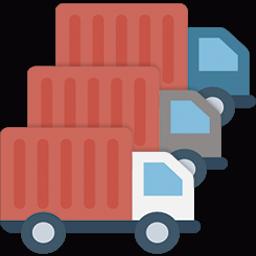 Ícone com três caminhões ilustrando uma frota de caminhões.