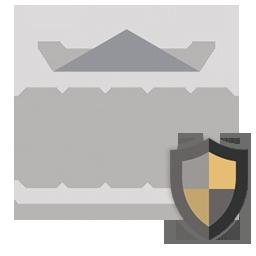 Logo que representa o seguro empresarial da Ligasul Seguro, o escudo à direita representa a proteção.